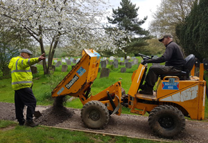 Making the path for the churchyard extention